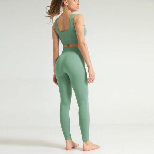 UK Women Seamless Gym Yoga Set Suit Fitness Exercise Leggings Crop Top Bra 2 PCs