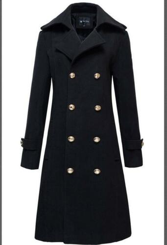 Men/'s Lapel Parka Military Trench Coat Woolen Double Breasted Outwear Jackets