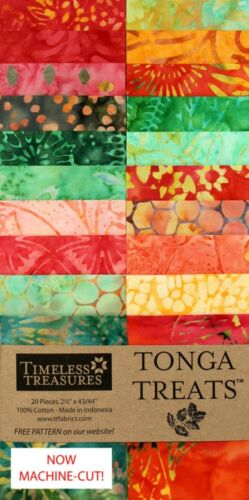 "Jelly Roll 20 Batik 2.5/"" Strips Timeless Treasures Watermelon Tonga Treats Jr"