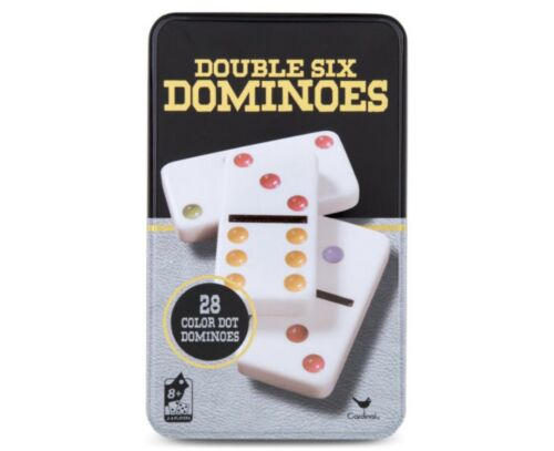 Domino Double Six 6 Standard Strategic Game Tin Metal Case Set of 28