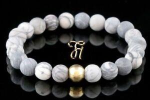Jaspis-925er-sterling-Silber-vergoldet-Armband-Bracelet-Perlenarmband-weiss-grau