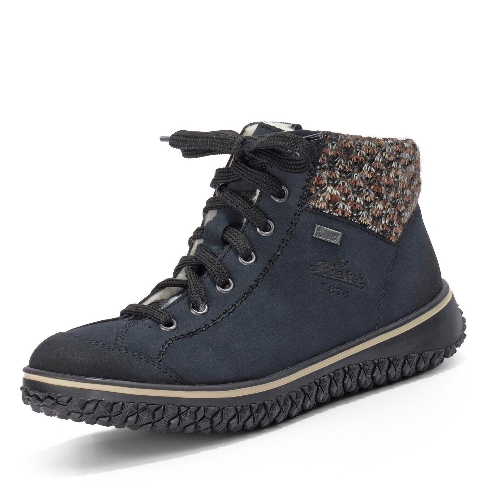 Rieker Damen TEX-Schnürschuh Halbschuhe Winterschuhe Stiefeletten Schuhe blau