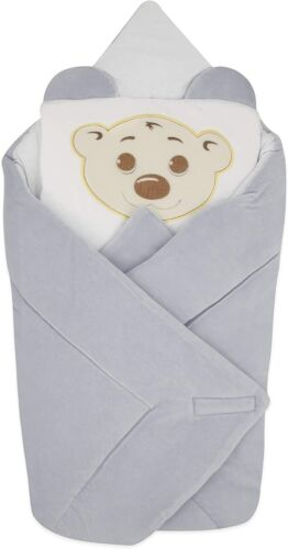 BlueberryShop Velour Baby Swaddle Wrap Bedding Blanket with Pillow