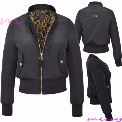 Vintage Biker Ma1 Classic Leopard Størrelse Polstret Zip Jacket Ladies Up Bomber Kvinders H4vxw0qw