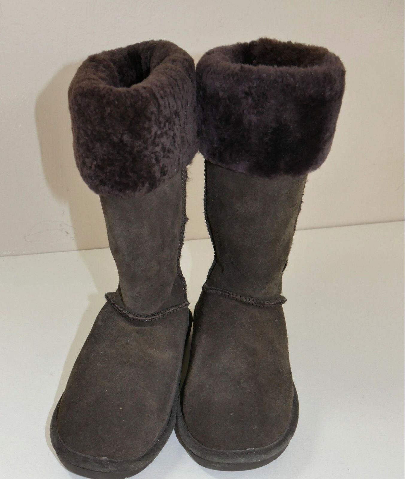 Bear Paw Womens  Brown Tall Leather Shearling Trim Cuffed Boots  Size 10