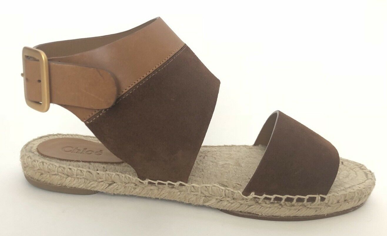 Chloe Donna Shoes Size 38 NIB Calf Sandals Espadrilles Flats Brown