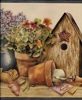 Country Birdhouses, Pots, Plants, Books, Blue Trim Wallpaper Border