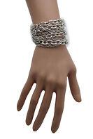 New Women Silver Metal Chain Links Bracelet Fashion Jewelry 8 Strands Thick Thin