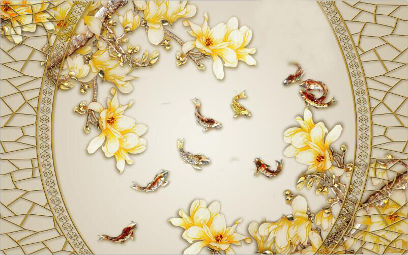 3D Gold fish flower texture Wall Paper Print Decal Wall Deco Indoor wall Mural