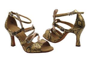 Latin Salsa Very Fine Ballroom Competitive Dance Shoe SERA7017 Gold Snake