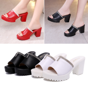 Rhinestone-Ladies-Peep-Toe-Wedge-Platform-Block-Heels-Summer-Women-Sandals-Shoes