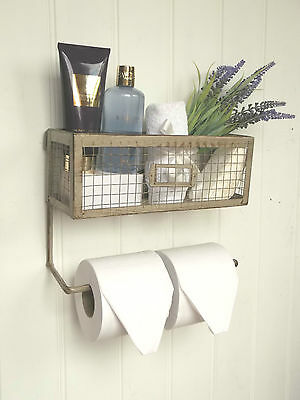 Shabby Chic Vintage French Toilet Roll Holder Shelf Unit Rack Storage Basket