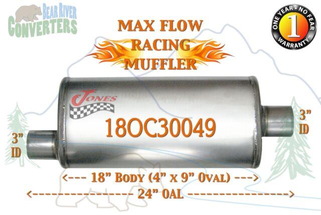 "Jones Exhaust MF1259 4/"" x 9/"" x 18/"" Universal Max Flow Oval Muffler 3/"" IN//OUT"