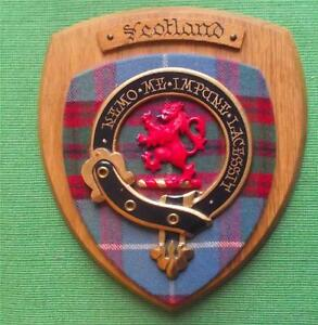 Old-Scottish-Carved-Oak-Clan-Scotland-Coat-Arms-Plaque-Crest-Shield