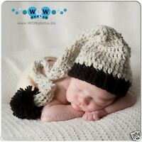 Crochet Baby Aran Fleck Black Long Tail Elf Hat - 0 To 6 Month Longtail Elf Hat