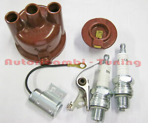 KIT-ACCENSIONE-FIAT-500-F-L-N-D-Puntine-Condensatore-Calotta-Spazzola-Candele