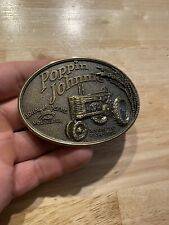 John Deere Tractor Belt Buckle Johnnie Popper Metal Brass Finish Patina CASE Ex