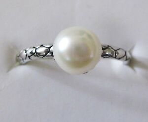 White-Freshwater-Pearl-Artisan-Designed-Ring-size-10-925-Sterling-Silver