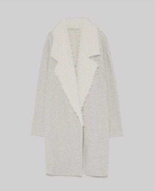 ZARA Women's Jacket with Faux Fur Lapel(Grey Marl, US M/EUR M)