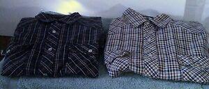 Lot-of-2-FALCON-BAY-Men-039-s-sz-L-Western-Pearl-Snap-Long-Sleeve-Shirt-0100734