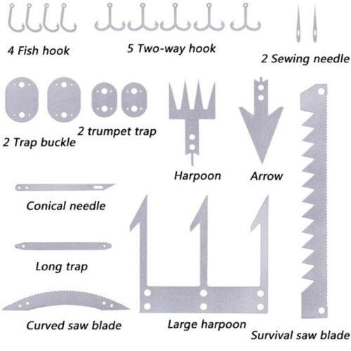 22 in 1 Fishing Gear Card Multi Fishhook Card Survival EDC Kit for OutdooALUL!Y