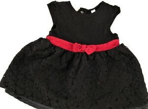 Cherokee Baby Girls Black Dress Red Ribbon Size 6 9m