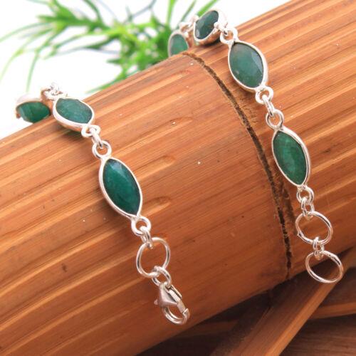 Green Emerald Cut GEMSTONE 925 Sterling Silver Jewelry statement solid Bracelet