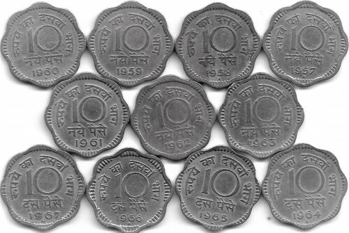 1957 to 1967 Copper Nickel Coins Paise India 11 Coins Set of 10 Naye Paise
