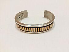 Vintage Navajo Darin Bill Sterling Silver & GF Heavy Cuff Bracelet