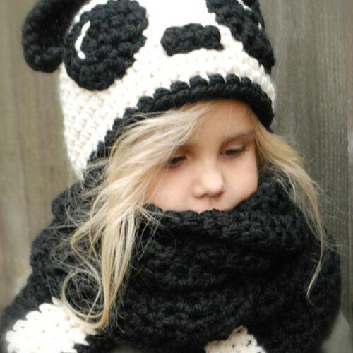 Enfant Chapeau Bonnet Écharpe Ensemble Mignon Panda Tricotés Chaud Hiver Mode NF
