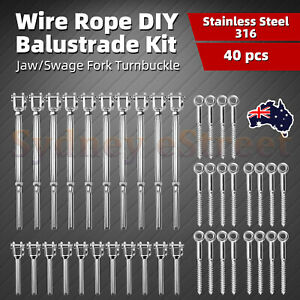 10-Pack-Stainless-Steel-Wire-Rope-DIY-Balustrade-Kit-Jaw-Swage-Fork-Turnbuckle