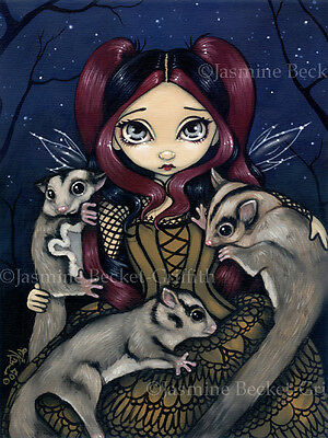 Jasmine Becket-Griffith art print SIGNED Sugar Gliders fairy babies pets fairie