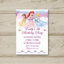 Disney Princess Birthday Party Invitations Cinderella Aurora Belle