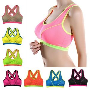 6c23e7f79219b Womens Yoga Sports Running Gym Bra Crop Top Vest Stretch Bras ...