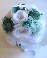 Wedding Bridal Bouquets 17 Pc Package Bride Silk Flowers White Teal Mint Silver