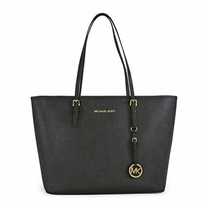 a5c93cee5a27 Michael Kors Jet Set Travel Black Top Zip Leather Tote Handbag for ...
