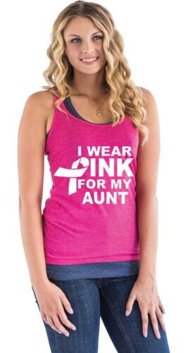 White I Wear Pink For My Aunt Racerback Tank Top Ribbon Breast Cancer Tee