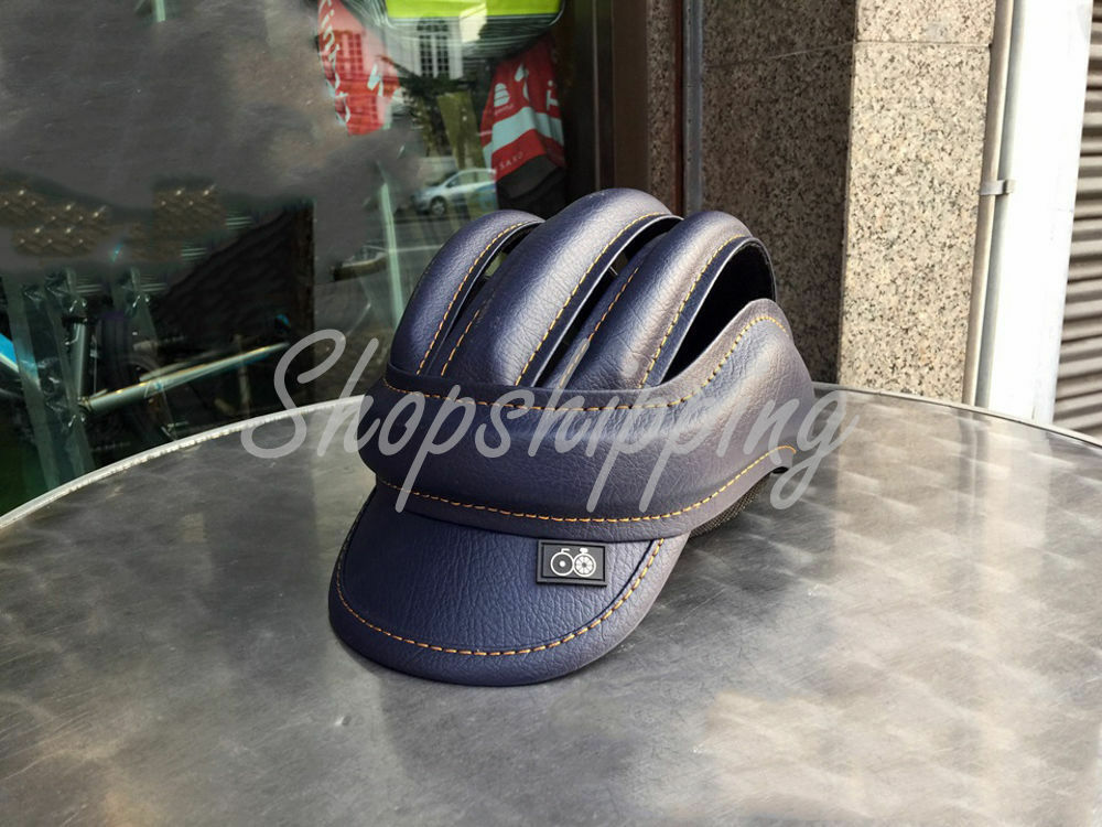 Handmade bluee Cycling Helmet Bicycle Vintage Retro Leather Classic  Outdoor 06  wholesape cheap