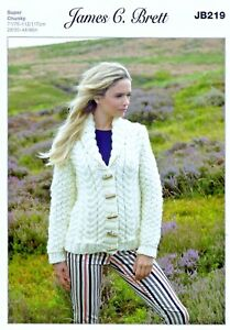 76c794fac James C Brett SUPER CHUNKY KNITTING PATTERN - Ladies Aran Style ...