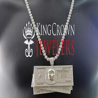 Custom Big Pendant White Gold Lab Diamond Cash $100 Bills Money+ Flower Chain