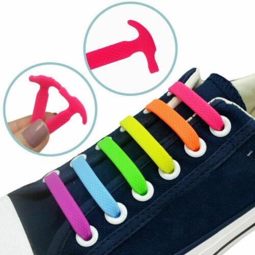 16PCS 10 Colors No Tie Shoelaces Rubber Silicone Slip Easy Sneaker Shoe Laces