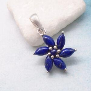 Lapislazuli-blau-rund-Bluete-Blume-Flower-Design-Anhaenger-925-Sterling-Silber-neu