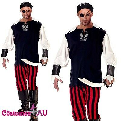 Mens Buccaneer Pirate Ship Mate Halloween Costume Fancy Dress Party Dress Outfit