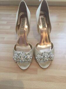 Image Is Loading Badgley Mischka Giana Bridal Wedding Satin Ivory Shoes