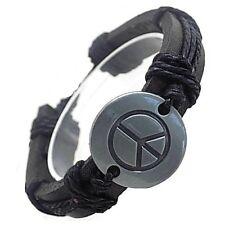 Mens black genuine leather peace charm symbol wristband bracelet