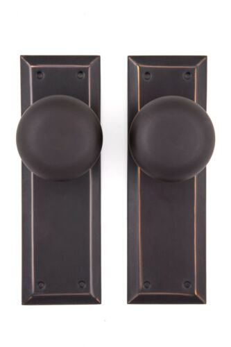 NY doorknob and back plate passage set solid bronze oil rubbed bronze finish