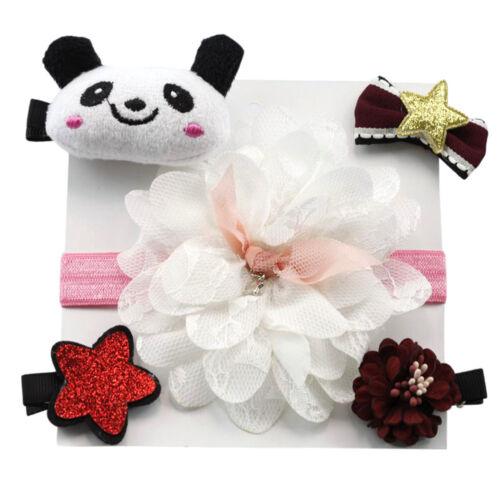 5Pcs Kids Infant Hairpin Hairband Baby Girl Bow Barrettes Hair Clip Headband Set