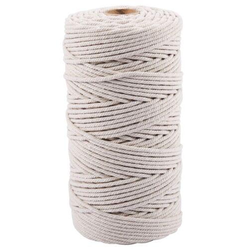 3Mm X 200 Mt Natürliche Hand Gemachte Baumwoll Kordel Makramee Garn Seil Di C3N2