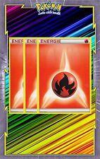 Energie Feu x3 - Cartes Pokemon Neuve Française - NRJ - Rouge