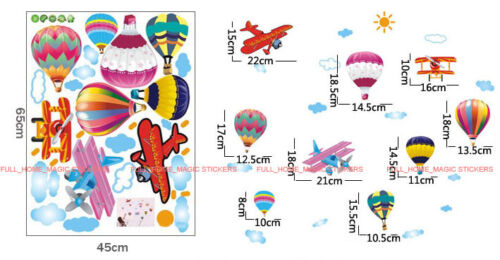 Colourful Hot Air Balloon /& Planes Wall Stickers Removable Vinyl Decal Kids Room